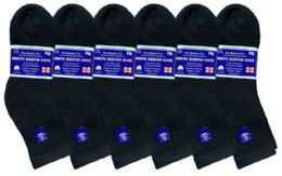 Yacht & Smith Women's Diabetic Cotton Ankle Socks Soft NoN-Binding Comfort Socks Size 9-11 Black 6 pack
