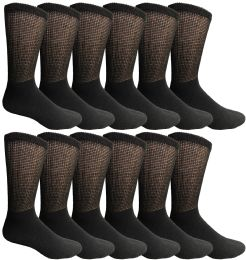Yacht & Smith Men's King Size Loose Fit Non-Binding Cotton Diabetic Crew Socks Black Size 13-16 12 pack
