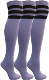 Yacht&smith Womens Over The Knee Socks, 3 Pairs Soft, Cotton Colorful Patterned (3 Pairs Purple)