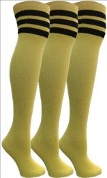 Yacht&smith Womens Over The Knee Socks, 3 Pairs Soft, Cotton Colorful Patterned (3 Pairs Yellow)