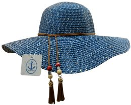 Yacht & Smith Floppy Stylish Sun Hats Bow And Leather Design, Style A - Navy