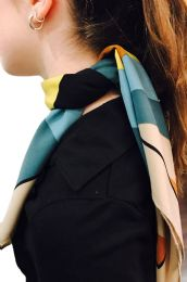 Yacht&smith Neck Scarf With Buckle, 50s Style Retro, Vintage Tie Shawl Wrap (geometric)