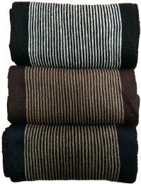 Yacht&smith 3 Pack Designer Winter Scarves, Stripe Patterned Neck Scarf, Unisex (option A) One Size