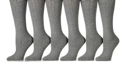 6 Pack Yacht&smith Womens Knee High Socks, Comfort Soft, Solid Colors (gray) 6 pack
