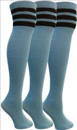 Yacht&smith Womens Over The Knee Socks, 3 Pairs Soft, Cotton Colorful Patterned (3 Pairs Copper Blue)
