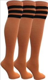 Yacht&smith Womens Over The Knee Socks, 3 Pairs Soft, Cotton Colorful Patterned (3 Pairs Orange)