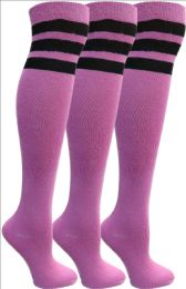 Yacht&smith Womens Over The Knee Socks, 3 Pairs Soft, Cotton Colorful Patterned (3 Pairs Pink) 3 pack