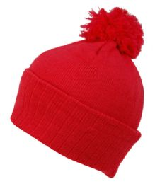 BEANIES WITH POMPOM IN RED 24 pack