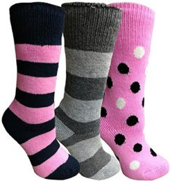 Yacht&smith 3 Pairs Womens Brushed Socks, Warm Winter Thermal Crew Sock 3 pack