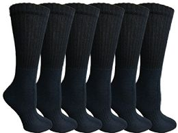 Womens Anti-Microbial Crew Socks, Comfort Knit Ringspun Cotton, Terry Lined, Premium Soft (6 Pack Navy) 6 pack