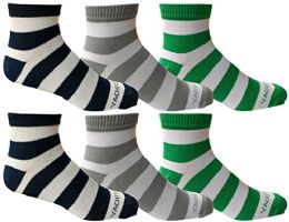 6 Pairs of Mens Short Crew Socks, Lightweight Striped Sports Sock (Wide Stripes) 6 pack