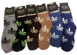 Men's Marijuana Leaf Fuzzy Sock 36 pack