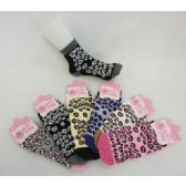 Womens Leopard Print Warm Fuzzy Socks - Womens Fuzzy Socks 120 pack