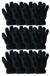 Kids Furry Gloves Solid Black , Warm And Fuzzy 36 pack