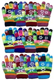 Yacht & Smith 12 Pair Kids Warm Winter Colorful Magic Stretch Gloves And Mittens For 2-5 Age Kids (Pack L) 12 pack
