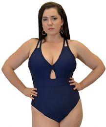 Yacht & Smith Plus Size Womens Swimsuit, Fashion One Piece Bathing Suit Tank (Navy, 3X)