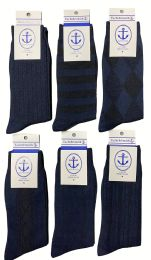 Yacht & Smith Men's Navy Textured Dress Socks Size 10-13 6 pack
