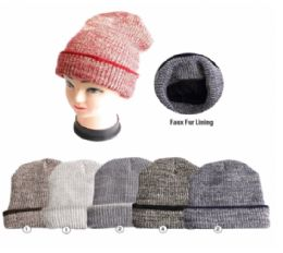 Winter Warm Beanie With Faux Fur Lining 24 pack