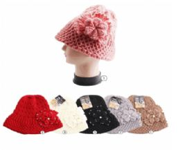 Winter Warm Knit Bucket Hat With Rhine Stone Flower 24 pack