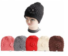 Winter Warm Knit Beanie Hat With Rhine Stone Flower 24 pack
