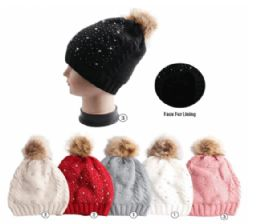 Winter Warm Knit Beanie With Faux Fur Lining 24 pack
