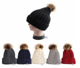 Winter Warm Ribbed Knit Beanie Assorted Colors 24 pack