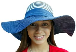 20 Pieces Of Yacht & Smith Floppy Stylish Sun Hats Bow And Leather Design, Style C - Navy