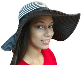20 Pieces Of Yacht & Smith Floppy Stylish Sun Hats Bow And Leather Design, Style C - Black 20 pack
