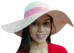 20 Pieces of Yacht & Smith Floppy Stylish Sun Hats Bow and Leather Design, Style C - Rose 20 pack