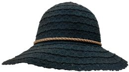 Yacht & Smith Cotton Crochet Sun Hat Soft Lace Design, Style A - Black