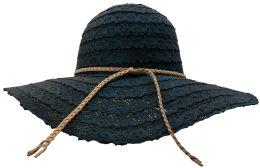 Yacht & Smith Cotton Crochet Sun Hat Soft Lace Design, Style B - Black