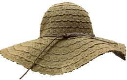 Yacht & Smith Cotton Crochet Sun Hat Soft Lace Design, Style B - Coffee