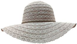 Yacht & Smith Cotton Crochet Sun Hat Soft Lace Design, Style B - Rose 20 pack