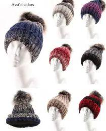 Women Winter Slouchy Beanie Hat Soft Fleece Knit Ski Skull Cap with Pom 72 pack