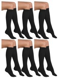 Yacht & Smith Womens Knee High Socks, Cotton, Flat Knit, Solid Colors Black 6 pack