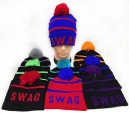 Knitted Pompom Unisex Swag Hats Assorted 36 pack