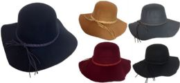 Women Lady Wide Brim Hat with Braided Hat Band Assorted 36 pack