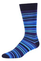 Men's Bamboo Nylon Spandex Crew Dress Socks In Blue 120 pack