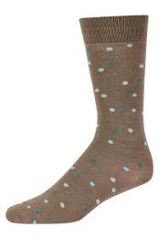 Men's Bamboo Nylon Spandex Crew Dress Socks In Dot Khaki 120 pack