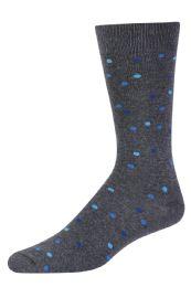 Men's Bamboo Nylon Spandex Crew Dress Socks Blue Dots 120 pack