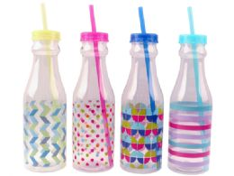Water Bottle With Straw 550ml 24 pack
