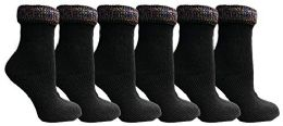 Yacht&Smith Ruffle Slouch Socks for Women, Unique Frilly Cuff Fashion Trendy Ankle Socks (6 Pair Black Glitter Cuff) 6 pack