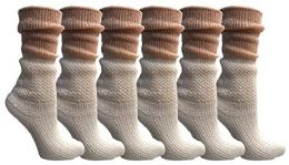 Yacht&Smith Ruffle Slouch Socks for Women, Unique Frilly Cuff Fashion Trendy Ankle Socks (6 Pair White Slouch Combo) 6 pack