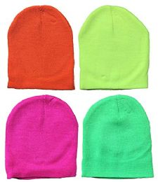 Yacht & Smith Kids Winter Beanie Hat Assorted Colors Bulk Pack Warm Acrylic Cap (4 Pack Neon) 4 pack