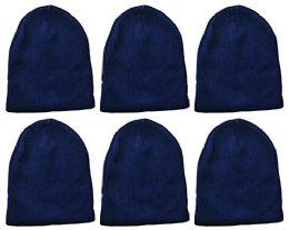 Yacht & Smith Kids Winter Beanie Hat Assorted Colors Bulk Pack Warm Acrylic Cap (6 Pack Royal Blue)