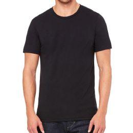 Mens Cotton Crew Neck Short Sleeve T-Shirts Black, Large