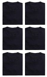 Mens Cotton Crew Neck Short Sleeve T-Shirts Black, Medium 6 pack