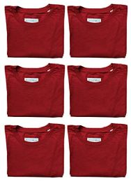 Mens Cotton Crew Neck Short Sleeve T-Shirts Red, Small 6 pack