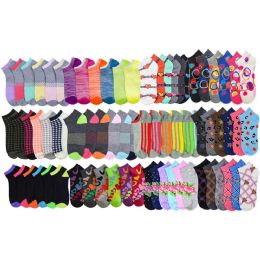 Assorted Pack Of Womens Low Cut Printed Ankle Socks. 120 pack