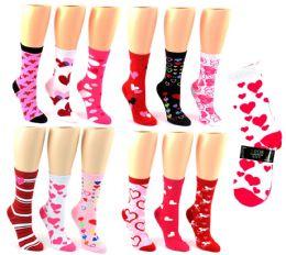 Valentine's Day Crew Socks - Size 9-11 24 pack